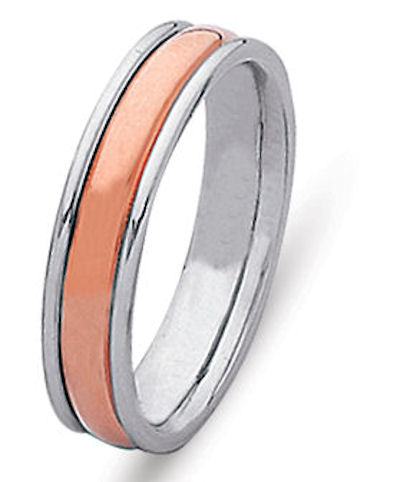 Item # 21529R - Hand crafted, 14 kt rose and white gold comfort fit band. The ring is 5.0 mm wide. The center is matte and the outer edges are polished. Different finishes may be selected or specified.