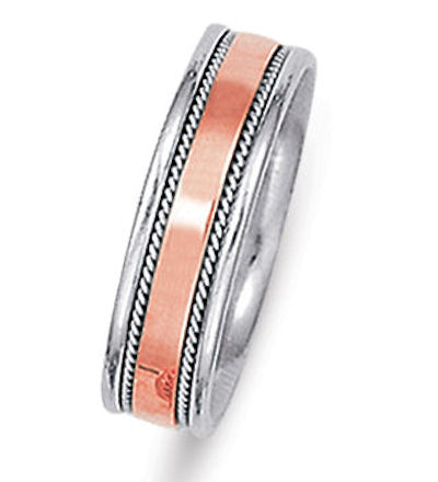 Item # 21530RE - Hand crafted, 18 kt rose and white gold comfort fit band. The ring is 6.0 mm wide. There is one hand crafted rope on each side of the band. The center is matte and the rest is polished. Different finishes may be selected or specified.