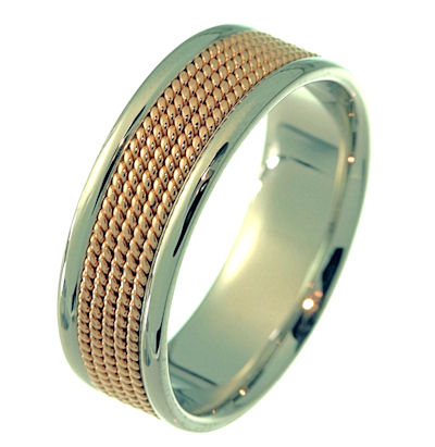 Item # 21531RE - Hand crafted, 18 kt rose and white gold comfort fit band. There is 18 kt rose gold ropes in the center of the band. The ring is 7.0 mm wide. The finish on the ring is polished. Different finishes may be selected or specified.