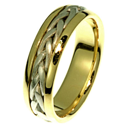 Item # 21583E - Hand crafted, 18 kt two-tone gold comfort fit band. The braid is beautifully crafted in 18k white gold. The ring is 6.5 mm wide. The center is matte and the outer edges are polished. Different finish may be selected or specified.