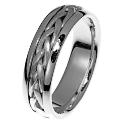 Item # 21583WE - Hand crafted, 18 kt white gold comfort fit band. The braid is beautifully crafted in 18k white gold. The ring is 6.5 mm wide. The center is matte and the outer edges are polished. Different finish may be selected or specified.