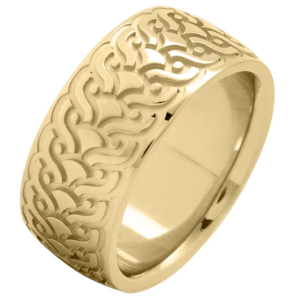 Item # 215859E - 18 Kt Yellow gold, comfort fit, 9.5 mm wide, carved wedding ring. The ring has a carved pattern in the center that is brushed finish. Outer edges are polished. Other finishes may be selected or specified.