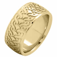 Item # 215859E - 18 Kt Yellow Gold 9.5 MM Carved Wedding Ring