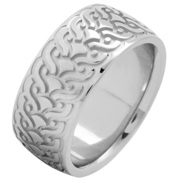 Item # 215859WE - 18 Kt White gold, comfort fit, 9.5 mm wide, carved wedding ring. The ring has a carved pattern in the center that is brushed finish. Outer edges are polished. Other finishes may be selected or specified.
