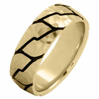 Item # 215897E - 18 Kt Yellow Gold 8.0 MM Carved Wedding Ring