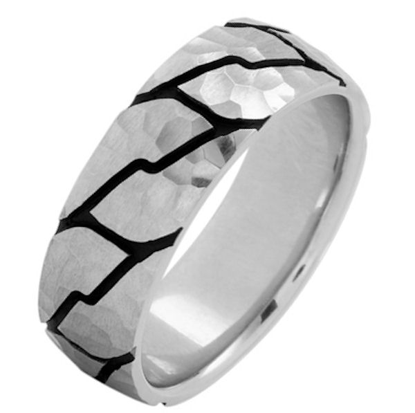 Item # 215897WE - 18 Kt White gold, comfort fit, 8.0 mm wide, carved wedding ring. The ring has a carved pattern with black antique and a hammered pattern. The ring is brushed finish. Other finishes may be selected or specified.