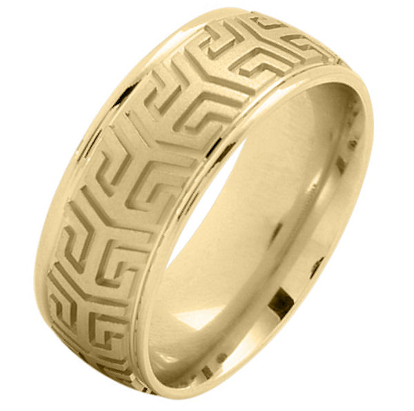 Item # 216137 - 14 Kt Yellow gold, comfort fit, 8.0 mm wide, carved wedding band. The center of the ring has a carved pattern and brush finish. The outer edges are polished. Other finishes may be selected or specified.
