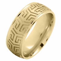 Item # 216137E - 18 Kt Yellow Gold 8.0 MM Carved Wedding Ring