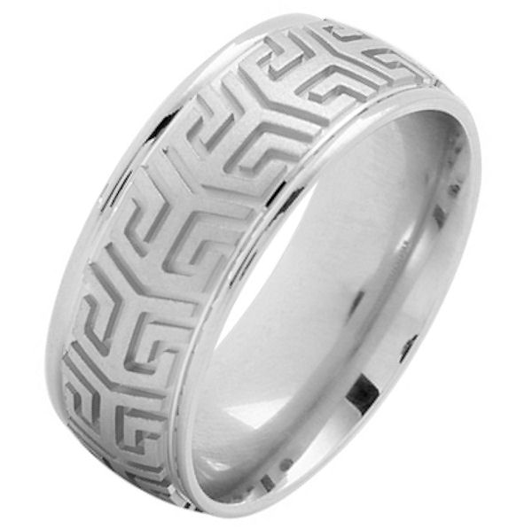 Item # 216137WE - 18 Kt White gold, comfort fit, 8.0 mm wide, carved wedding ring. The center of the ring is brushed finish and the outer edges are polished. Other finishes may be selected or specified.