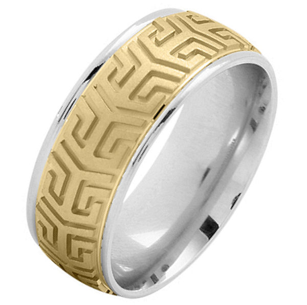 Item # 216137WY - 14 Kt two-tone gold, comfort fit, 8.0 mm wide, carved wedding band. The center of the ring has a carved pattern in yellow gold and is brushed finish. The outer edges are white gold and polished. Other finishes may be selected or specified.