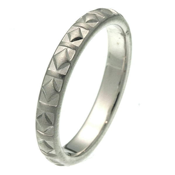 Item # 216141W - 14 kt white gold 4.0 mm wide comfort fit wedding band. The ring has a diamond shaped pattern all around the ring with a matte finish. It is 4.0 mm wide and comfort fit. Different finishes may be selected or specified.