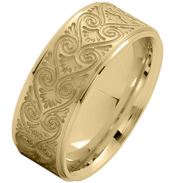 Item # 216146E - 18 Kt Yellow Gold 8.5 MM Carved Wedding Ring View-1
