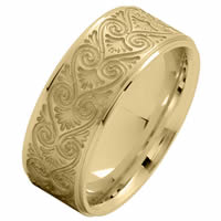 Item # 216146E - 18 Kt Yellow Gold 8.5 MM Carved Wedding Ring