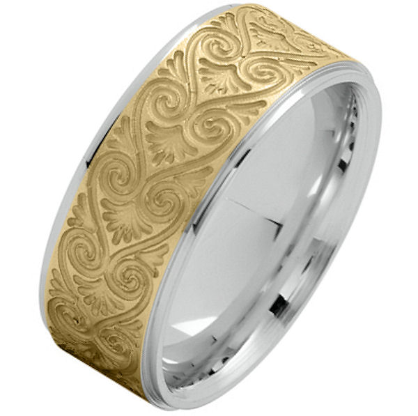 Item # 216146WY - 14 Kt two-tone gold, comfort fit, 8.5 mm wide carved wedding ring. The center of the ring has a carved pattern in yellow gold with brush finish. The outer edges are in white gold and polished finish. Other finishes may be selected or specified.