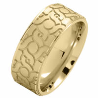 Item # 216148E - 18 Kt Yellow Gold 9.0 MM Carved Wedding Ring