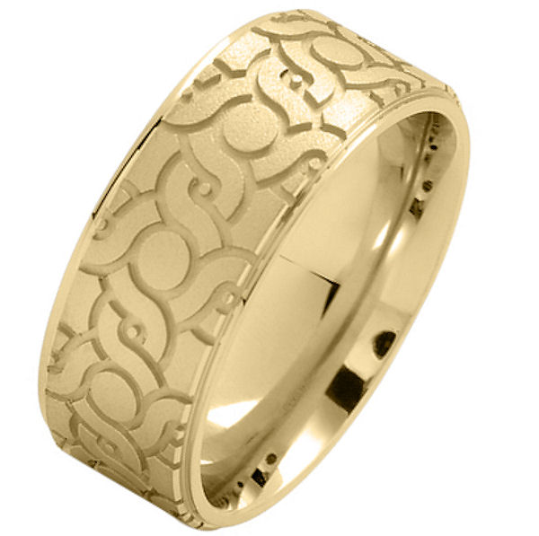 Item # 216148E - 18 Kt Yellow gold, comfort fit, 9.0 mm wide, carved wedding ring. The ring has a carved pattern in the center that is brushed finish. Outer edges are polished. Other finishes may be selected or specified.