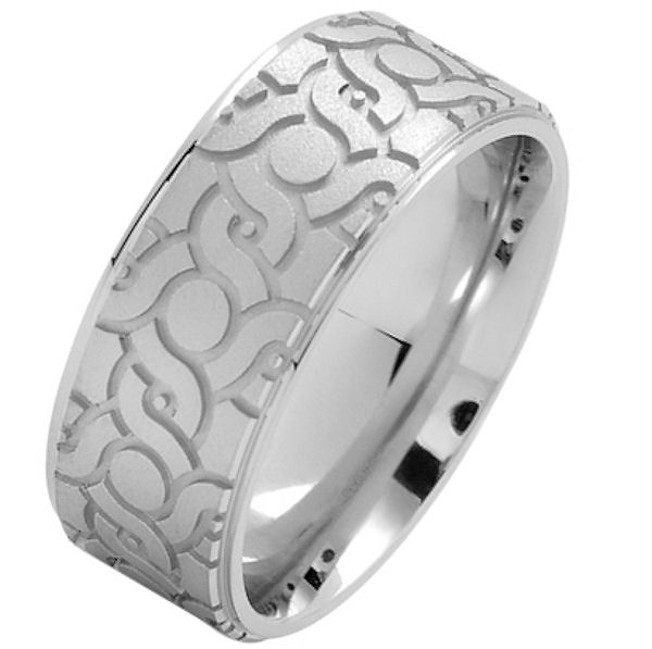 Item # 216148WE - 18 Kt White gold, comfort fit, 9.0 mm wide, carved wedding ring. The ring has a carved pattern in the center that is brushed finish. Outer edges are polished. Other finishes may be selected or specified.