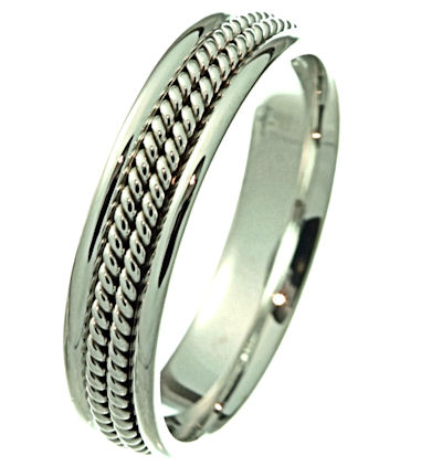 Item # 216195WE - Hand crafted braided 18 kt white gold comfort fit wedding band. The ring has two 18 kt white gold ropes inlayed into the white gold. It is 5.0 mm wide. The finish is polished. Different finishes may be selected or specified.