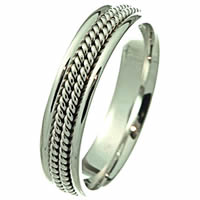 Item # 216195WE - 18Kt Gold Roped Wedding Band