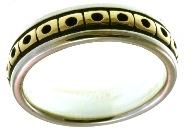 Item # 21623E - 18K Two-Tone wedding Band. View-3