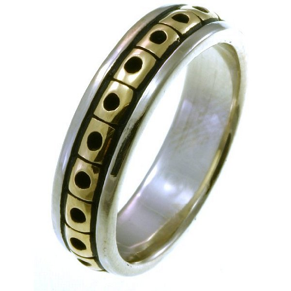 Item # 21623E - Hand crafted, 18K two-tone, Black Antique, 5.0 mm wide comfort fit Celtic wedding band. The finish is polished. Different finishes may be selected or specified.