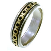 Item # 21623PE - Platinum and 18K Gold Wedding Band