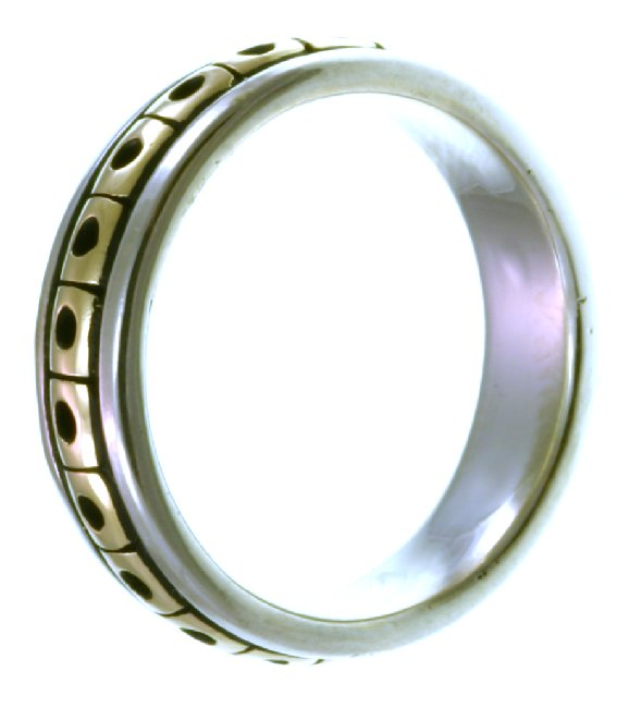 Item # 21623E View 2 - 18K Two-Tone wedding Band.