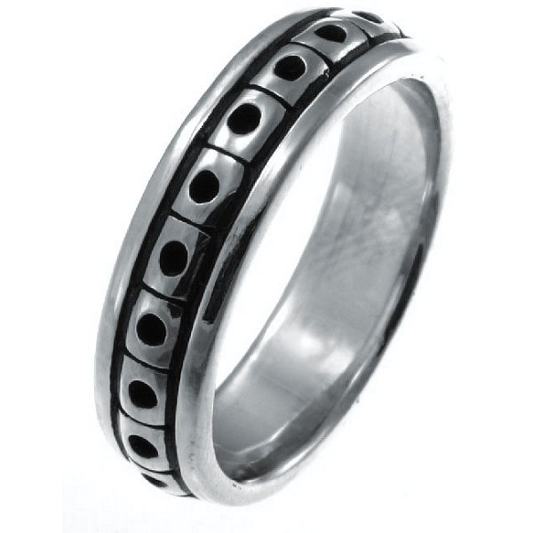 Item # 21623W - Hand crafted, 14K white gold, Black Antique, 5.0 mm wide comfort fit Celtic wedding band. The finish is polished. Different finishes may be selected or specified.