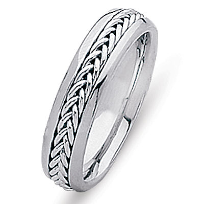 Item # 216305PP - Platinum hand crafted comfort fit wedding band. A beautiful braid made in all platinum set in the center of the band. The ring is 5.0 mm wide and comfort fit. The finish is polished. Different finishes may be selected or specified.