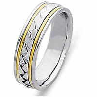 Item # 21645PE - Wedding Ring, Platinum & 18 Kt Yellow Gold