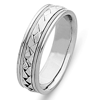 Wedding Ring, 18 Kt White Gold Hand Made