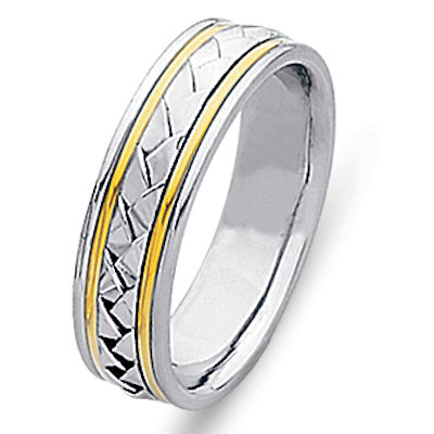 Item # 21645PE - Hand crafted platinum and 18 kt yellow gold 6.0 mm wide, comfort fit wedding band. The ring is made with a polished finish. Different finishes may be selected or specified.