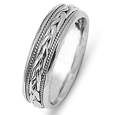 Item # 21646W - 14 kt white gold hand crafted 6.0 mm wide comfort fit wedding band. The ring has two ropes and a beautiful braid made in all 14 kt white gold. The finish on the ring is polished. Different finishes may be selected or specified.