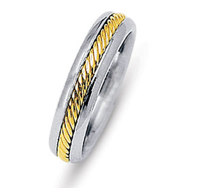 Item # 216481E - 18 K two-tone 5.5 mm wide comfort fit wedding band. The rope is beautifully crafted in 18 kt yellow gold. The finish on the ring is polished. Different finishes may be selected or specified.