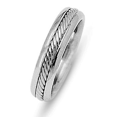 Item # 216481WE - 18 Kt white gold, 5.5 mm wide comfort fit wedding band. The rope is beautifully crafted in 18 kt white gold. The finish on the ring is polished. Different finishes may be selected or specified.
