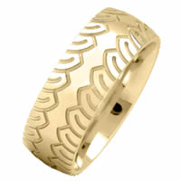 Item # 216483E - 18 Kt Yellow 8.0 MM Carved Wedding Ring