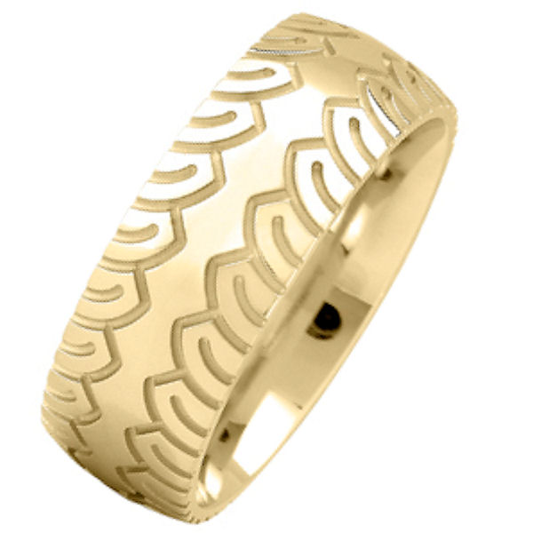 Item # 216483E - 18 kt yellow gold, comfort fit, 8.0 mm wide,  carved wedding band. The ring has a carved design on each side of the ring. The wedding band is made with an all polished finish. Other finishes may be selected or specified