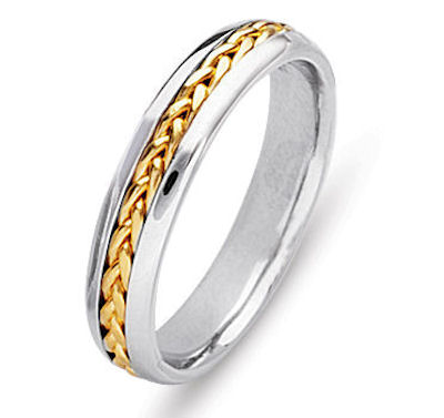 Item # 21651 - Hand crafted, 14 kt two-tone gold comfort fit band. The braid is beautifully crafted in 14 kt yellow gold. The ring is 5.0 mm wide. The finish is polished. Different finishes may be selected or specified.