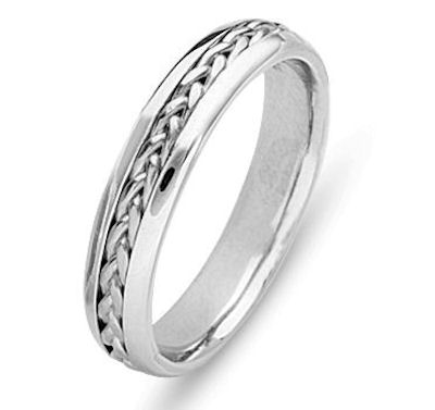 Item # 21651PP - Hand crafted, platinum comfort fit band. The braid is beautifully crafted in platinum. The ring is 5.0 mm wide. The finish is polished. Different finishes may be selected or specified.