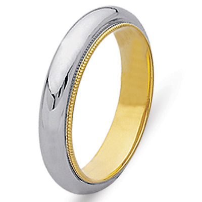 Item # 216885 - Hand crafted 14 kt two-tone gold, 5.0 mm wide comfort fit wedding band. The ring has milligrain edges and a polished finish. Different finishes may be selected or specified.