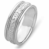 Item # 21699PP - Platinum Hand Carved Wedding Band