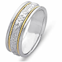 Item # 21699E - 18Kt Two-Tone Hand Carved Wedding Band