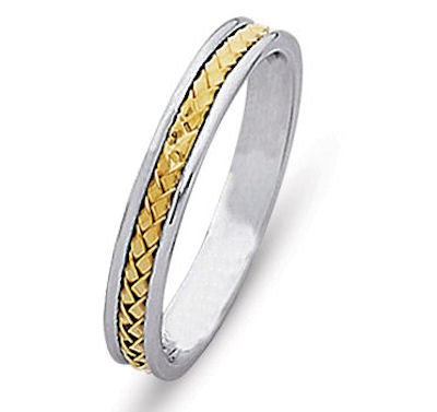 Item # 21735E - Hand crafted, 18 kt two-tone gold comfort fit band. The braid is beautifully crafted in 18 kt yellow gold and the ring is 4.0 mm wide. The finish is polished. Different finishes may be selected or specified.