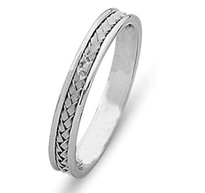 Item # 21735WE - Hand crafted, 18 kt white gold comfort fit band. The braid is beautifully crafted in 18 kt white gold and the ring is 4.0 mm wide. The finish is polished. Different finishes may be selected or specified.