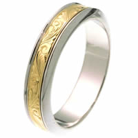 Item # 218001E - 18Kt Two-Tone Wedding Ring
