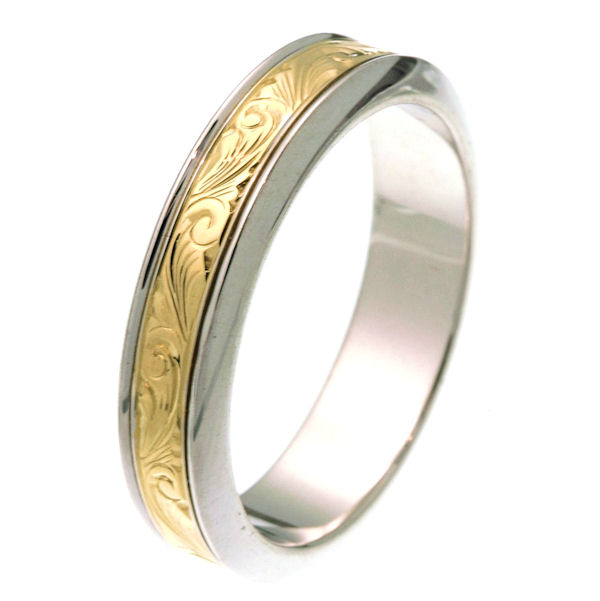 Item # 218001PE - Platinum and 18 kt yellow gold 5.5 mm wide hand carved comfort fit wedding band. The ring has hand carving in the center with a polished finish. It is 5.5 mm wide and comfort fit. Different finishes may be selected or specified.