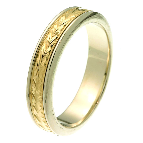 Item # 218031E - 18 kt two-tone gold 5.0 mm wide comfort fit wedding band. The center of the ring has hand carving with an all polished finish. It is 5.0 mm wide and comfort fit. Different finishes may be selected or specified.