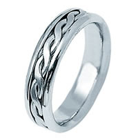Item # 21912W - 14Kt White Gold Hand Braided Wedding Band