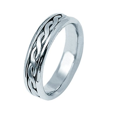 Item # 21912WE - 18Kt White gold hand braided wedding band. This band is approximately 5.0 mm wide and comfort fit. The braid in the center is hand made. The finish is polished. Different finishes may be selected or specified.