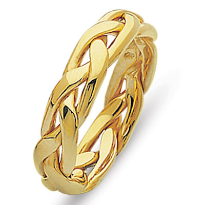 Item # 21925E - Hand woven 18 kt yellow gold comfort fit, 5.0 mm wide wedding band. The ring is made with a polished finish. The ring is made with a polished finish. Different finishes may be selected or specified.